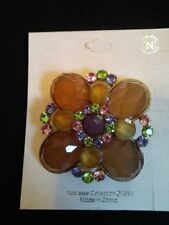 "NEW ON CARD UNSIGNED NOBLESSE COLLECTION LARGE 3"" BROOCH PIN BACK MULTI COLOR"