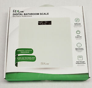 Fit2Live Digital Bathroom Scale 400 lb capacity tempered glass auto off