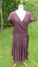 FAT FACE Burgundy Vintage 50s Style  wrap dress size 14   (C14)