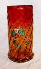 Mount Washington (or Harrach) Victorian Amberina Glass Vase Swirl with Enamel