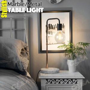 Modern Table Light Desk Lamp With Marble Base Metal Matt Black Copper Plating