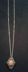Platinum Over Sterling Silver Peach Opal w Garnet  Pendant with 20'' chain