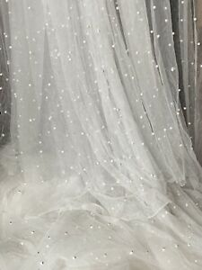 """Ivory pearl bridal soft lace net fabric..60""""Width (price 1 Yard)"""