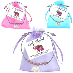 Good luck Miracle Bead Wish Bracelet Lucky Elephant Charm Small Verse Card
