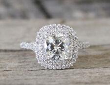 Certified 3.05Ct Cushion Cut Diamond Engagement & Wedding Ring In 14K White Gold