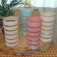 MCM 14 oz Pastel Stripe Ring Drinking Glass Tumbler Lot of 4 Aqua Pink 1950s