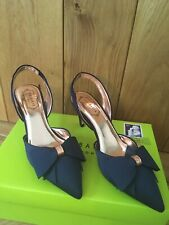 Womens Ted Baker Bow Detail Sling Back Court Shoes 39 Uk 6 Navy Blue Aidelas