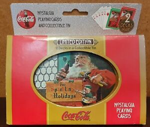 1998 Coca~Cola Limited Edition 2 Decks Nostalgia Playing Cards w/Collectible Tin