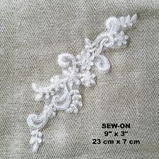 White Boho Flower Floral Embroidery Bride Wedding Dress Patch Applique