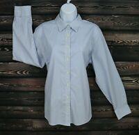 Lands' End Dress Shirt Womens Size 18 Blue White Striped No Iron Pinpoint Oxford