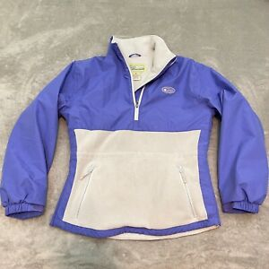 Lady Drake Waterfowl Systems White Purple Fleece 1/4 Zip Pullover Jacket Medium