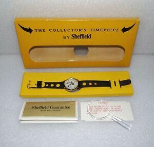 1970s SHEFFIELD CHARACTER WATCH Daffy Duck Open Back MENS WIND WRISTWATCH in Box