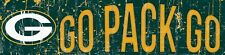 """Green Bay Packers GO PACK GO Football Wood Wall Sign 16"""" x 4""""  Decoration Gift"""