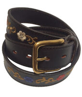 """Las Flores"" 100% Argentine Embroidered Leather Polo Belt - Black"