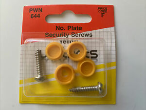 2 X Moulded Number Plate Metal Fixing Screws Yellow Plastic Caps New In Pack