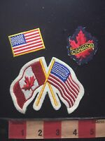 Canada & USA Flag Themed Patch Emblem Lot Of 3 75X1
