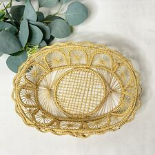 Iraca Palm Basket Folk Art Hand Woven Small Boho Decor