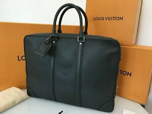 """LOUIS VUITTON Authentic 16"""" Gray Leather Porte Briefcase Document Laptop Bag"""
