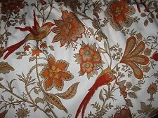 Vintage Retro Orange JOHN LEWIS Jonelle Spice Island Floral Bird Curtain Panel