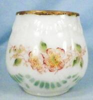Antique Victorian Milk Glass Comb Jar Vase Pink Flowers Vanity Accessory