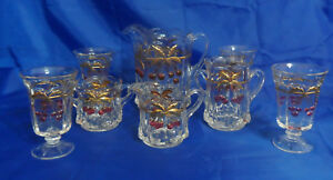 Mosser Red Cherry & Cable Thumbprint Clear Iced Tea 8 Piece Set w/ Gold Accents