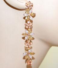 PENDIENTES mujer elegantes colgantes cristales oro ambar coral rosa largos G55
