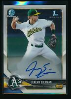 JEREMY EIERMAN AUTO 2018 1st Bowman Draft Chrome Autograph A's Rookie Card RC