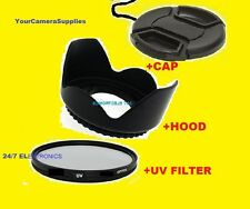 FLOWER HOOD+UV FILTER+LENS CAP 67mm AptTo SONY DSC-R1 CANON 17-85 24-85 S200EXR
