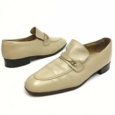 Florsheim Men's Vintage Beige leather loafers shoes 11D Dress Stretch Horse Bit