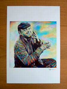 Hand Signed Open Edition Poster Print Art Super A3 Fred Dibnah By Warren Green