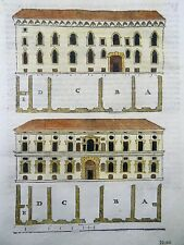 "1584 Seb Serlio; hand colored woodcut ""Palazzo"" in Bolugna Italy"