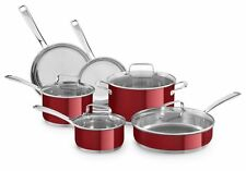KitchenAid Small 10pc Stainless Steel Cookware Set | Candy Apple Pearl