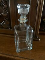 "Vintage Clear Glass Square Decanter Mid-Century  9.5"" Tall 3.5"" Base"