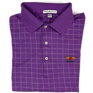 Peter Millar Golf Shirt Medium Mens Short Sleeve Polo BALTUSROL Logo Purple Sz M