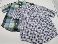 Set of 2 Gymboree Kids Boys Plaid Short Sleeve Button Up Shirts Size XS (3-4)