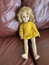 Antique Composition Open Mouth Jointed Doll With Curled Hair And Yellow Eyes 18�