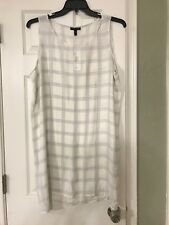 L $278  NWT EILEEN FISHER SOFT WHITE  PlLAID PRINTED SILK GEORGETTE  CREPE TUNIC
