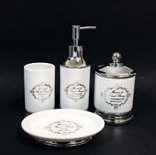 4 Pc Set Maison De Saint-Remy White+Silver Tone Metal,SoaP Dispenser+Dish+Tumb+