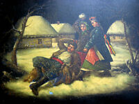 ANTIQUE RUSSIAN EARLY SOVIET ART LACQUER TRAY1920 MADE IN RUSSIA VILLAGE SCENE