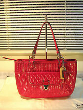 NWT Coach 19857 Poppy Quilted Leather Shopper Tote Magenta msrp $358
