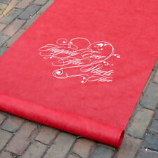 New Red with White Words Happily Ever After Rayon Aisle Runner 100'