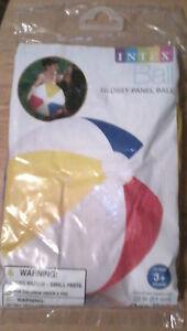BEACH BALL Glossy Panel Blue Red White kids swim toy 20 inch diameter NEW