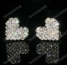 Clip on Crystal Heart Earrings Glass Rhinestone Diamante Silver Plated Comfy