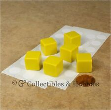NEW Set of 6 Blank Dice - 16mm Yellow RPG Game Math 5/8 inch D6