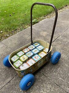 Vintage Chad Valley Hollie Hobbie Tin Brick Baby Walker Complete Tin? 1970s