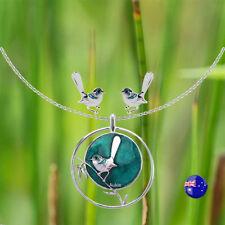 One Blue Enamel Blue Wren Desinger Necklace Pendant with Matching Earring Set