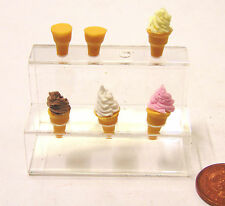 1:12 Scale 4 Cones With Ice Cream & 2 Empty In A Holder Dolls House Accessory