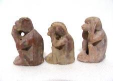 Vintage Carved Soapstone 3 Wise Monkeys Hear No Evil See No Evil Speak No Evil