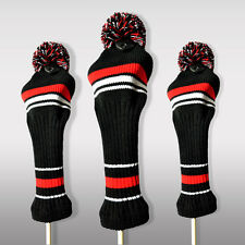 New Golf Knit Head Covers Wood Club Pom Pom Headcover Protector Sleeve Set 3PCS