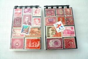 2 Handmade Vintage US & Foreign RED Postage Stamp Notebooks Memopads